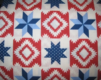 100 percent cotton fabric/red/blue/navy/white/quilting/crafts/apparel/by the yard