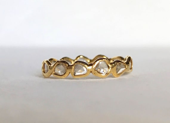 Diamond slice eternity band in 18k solid gold