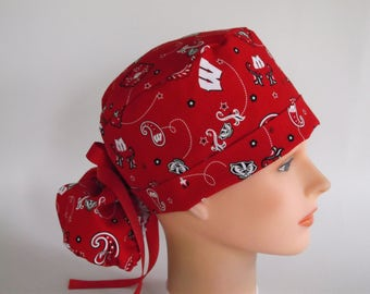 University of Wisconsin fabric ponytail - Womens lined surgical scrub cap, scrub hat, 7-2160w