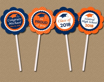 Personalized High School Graduation Party Decorations, PRINTABLE Graduation Cupcake Topper Download, Navy Orange Graduation Party Ideas G6