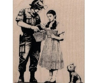 Rubber stamp Banksy  Police man  Dorothy And Toto Being Searched stamping graffiti outsider art play  craft supplies number 19938