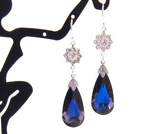 Dark Blue Crystal Earrings, Swarovski Long Blue Bridal Earrings: CZ Wedding Jewelry, Special Occasion Dangle Earrings, Sterling Silver