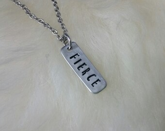 FIERCE Custom Hand Stamped Aluminum Necklace with Personalized Pendant