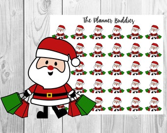 Santa, Christmas Themed Planner Stickers, Shopping
