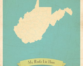 30% OFF Map Artwork, Map Nursery Art, Map Poster, 11x14, Customized Print, West Virginia Roots Map