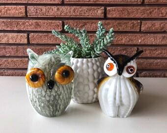 Vintage Handblown Glass Owl Figurines