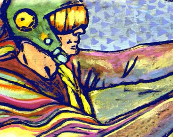 "Archival Art Print - ""Road Test"" - Race Car Driver Woodcut Print with Gouache Painting Mixed Media"