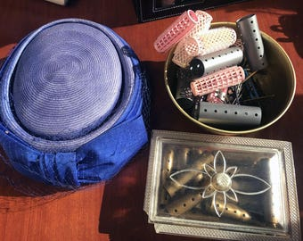 Vintage Carson Pirie Scott Hat with Veil and Vintage Rollers with Accessories