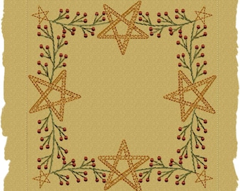 MACHINE EMBROIDERY-Berry Star Garland Candle Mat--4 INCH-Motif Stitch-Instant Download
