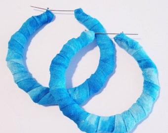 Blue Splash Hoop Earrings