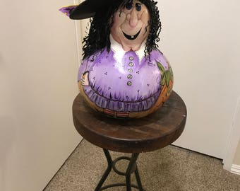 Happy Halloween Greetings from Candy the Witch Painted Gourd