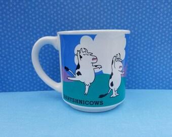 Sandra Boynton vintage coffee mug with cows dancing ballet titled Baryshnicows pun on Mikhail Baryshnikov