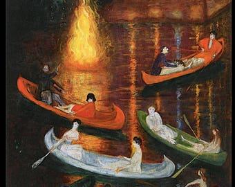 Florine Stettheimer ~ Title: Fete on the Lake ~ Feminist artist, New York Modern, Early 20th Century, wall art