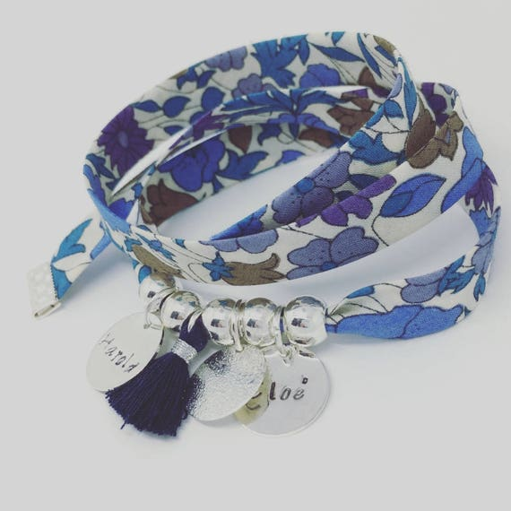 BRACELET LIBERTY MOM * Bracelet personalized GriGri XL Liberty with 2 custom ENGRAVINGS and tassel by Palilo