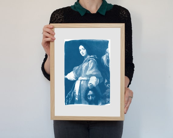 Cyanotype Print, Allori Painting Of Judith with the Head of Holofernes on Watercolor Paper, Gift for her, Feminist Art, Feminism, Framed Art