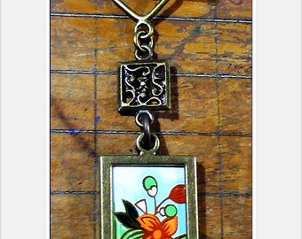 Vintage Tea Tin Necklace, Double-Sided Pendant