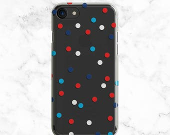 Fourth of July Outfit Accessory, iPhone 7 Plus Case, Clear 6s Case, Galaxy S8 Case, Patriotic Confetti, Note 7, Galaxy S7 Edge, S6, S5, SE