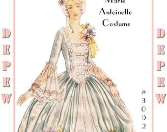 Vintage Sewing Pattern Marie Antoinette Halloween Costume #3092 -INSTANT DOWNLOAD-
