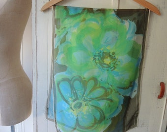 Vintage 1960s sheer chiffon scarf abstract floral  15 x 44 inches