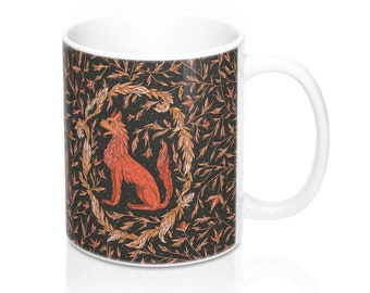 Mythical Firewolf 11 oz Ceramic Mug, Heraldic Beasts, Mythical Creatures, Myth, Magical Animals, Fantastic Beasts, Fire Wolf