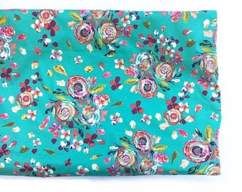 Crib Sheet- changing pad cover- SWIFTING FLORA JADE- floral crib sheet- floral changing pad cover- girl baby bedding- floral baby bedding