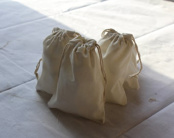 25-2x3 inch Cotton Muslin bags  , Art Craft Bags , Reuseable bags Double Drawstring