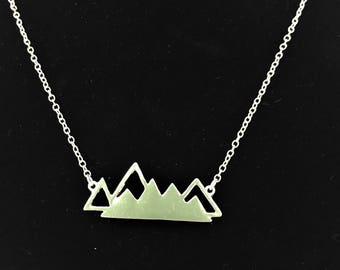 Silver Mountain Necklace - Small \\ Mountain Jewelry \\ Love Mountains \\ Trail Runner Jewelry \\ Hiking Jewelry