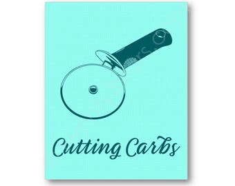 Cutting Carbs Art, Pizza Cutter Kitchen Humor Poster, Funny Kitchen Art Print, Kitchen Poster Art, Funny Kitchen Prints, Cutting Carbs Art