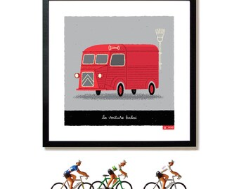 Tour de France Art, Citroen Van, Cycling Art Print
