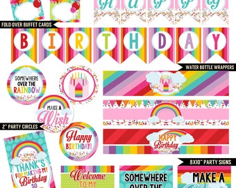 Rainbow Wishes Digital Printable Kids Colorful Art Birthday Party Printables Package INSTANT DOWNLOAD