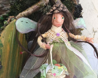 Forest fairy with a cone-cap and a fruit basket, Ready to Ship, Fantasy Figurine, Poseable tiny fairy doll, OOAK doll,Polymer clay doll