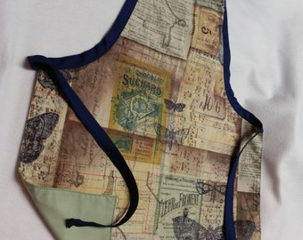 Blue Moths with French Labels Apron