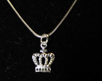 "20"" Stainless Steel NEcklace with Crown Charm"