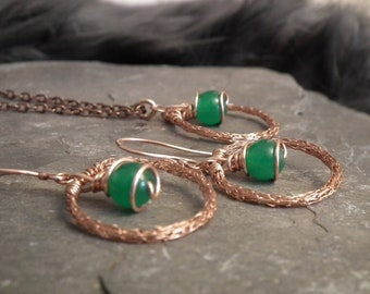 Green Jade Viking knit copper wire earrings and pendant