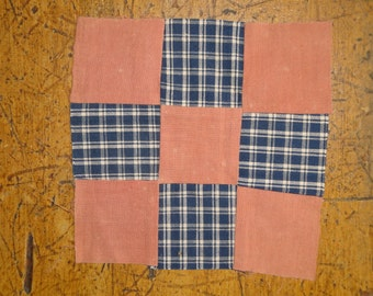 Old Homespun Fabric Quilt Square | Unfinished Antique Quilt Square | Vintage Homespun Quilt Top Piece | LISTING is for 1 Quilt TOP Piece