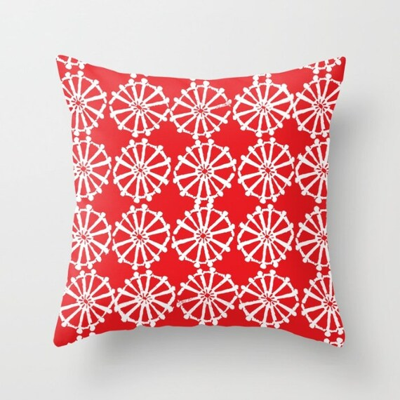 OUTDOOR Throw Pillow . Red Outdoor Pillow . Ruby Red patio cushion . Modern Geometric Pillow Wheel . 16 18 20 inch . Lumbar Pillow