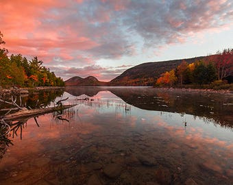 "Acadia National Park, Jordan Pond, Maine, Fall Foliage, Autumn Trees, Nature, Large Wall Print, Fine Art Photography - ""Quiet Sunrise"""
