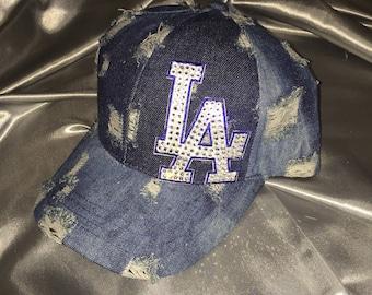 Trucker Hat, LA, LA Dodgers, Dodgers Hat,  Bling Hats, Womens Hat, Sworovski Crystal Hat, Bling Trucker Hats