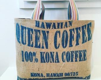 Reversible Hawaiian Queen Coffee Sack Tote / Beacg Bag/ Market Bag / Rainbows