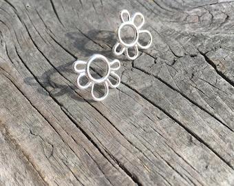 Silver Flower Earrings—Efflorescence Earrings—Small Handmade Flower Earrings—You Choose Post or French Hooks—Ready-to-Ship