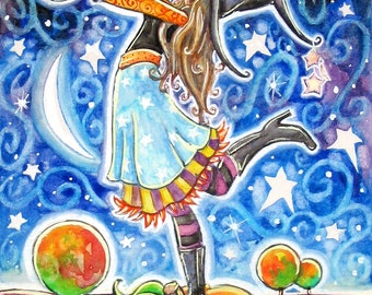 Bewitched - 6x9 print - by Brenna White - witch black cat  moon stars fall autumn halloween
