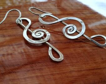 Sterling silver Treble clef earrings, long dangle earrings, music, spiral, sol clef, musical note, hammered, hook big earrings.