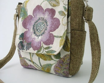 womens backpack purse converts to messenger, zippered purse, floral shoulder bag ,crossbody handbag, crossbody bag, fits IPAD, ready to ship