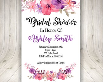 ON SALE Bridal Shower Flower Invitations