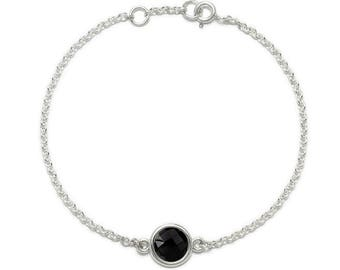 Black Onyx Bracelet, 925 Sterling Silver. , color black, weight 2.3g, #46542