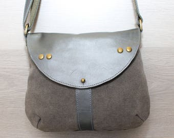 Bag made from  canvas and leather