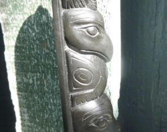 Totem Haida Signed JP Resin Argilite Replica