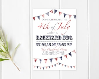 4th Of July BBQ, Fourth Of July Party, Independence Day, BBQ Invitation, American Flag, Flags, Summer BBQ Invite, 4th Of July Invite [229]
