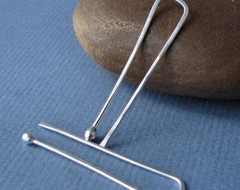 18g Earrings, Long Rectangle Hoops, Sterling Silver Hammered Tuning Forks - Handmade