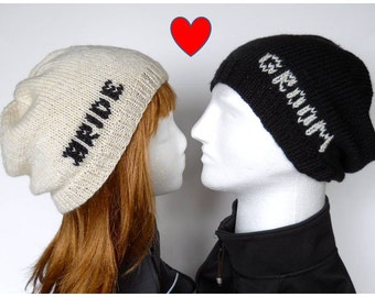 Bride and Groom Beanie Set, Slouchy Beanies for Wedding Photos Props and Honeymoon Wear, Wedding Beanies for Ski, Snowboard, Hipster Wedding